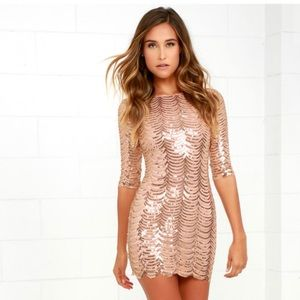 Star Dust Gold Sequin Bodycon Dress by Lulus